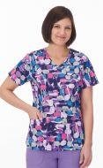 White Swan Bio 14372 Jellybean Purple Core Print Mock Wrap Top *CLEARANCE*