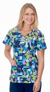 White Swan Bio 14372 Jellybean Navy Core Print Mock Wrap Top *CLEARANCE*