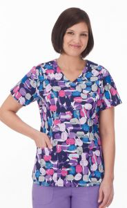 White Swan Bio 14372 Jellybean Purple Core Print Mock Wrap Top *CLEARANCE*