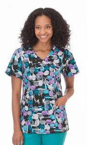 White Swan Bio 14372 Jellybean Black Core Print Mock Wrap Top *CLEARANCE*