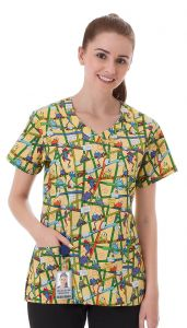 White Swan Fundamentals F3 Collection 14374 Toadally Dental Reorderable Print Top *CLEARANCE*