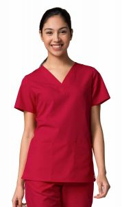 Maevn Red Panda 1716 2 Pocket V-Neck Top