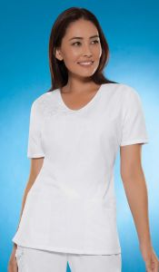 Cherokee 1734 V-Neck Embroidered Top