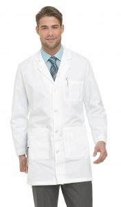 "Landau 3124 Men's 4-Button Back Belt 37"" Lab Coat"