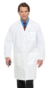 "Landau 3145 Men's 5-Button 42"" Lab Coat"