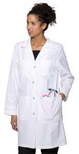 "Landau 3153 Women's 4-Button Back Belt 38"" Lab Coat"