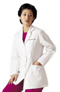 "Landau 3194 Women's  4-Button Mock-Belt 32"" Lab Coat *CLEARANCE - no return or exchange*"