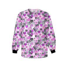 Scrub HQ 4350 Words of Love Pink Ribbon Print Jacket