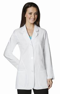 "WonderWink WonderLab 7103 Women's Curve Detail 33.0"" Fashion Lab Coat"