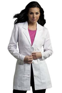 "MedCouture 8617 Empire Waist 4-Button 33"" Lab Coat *CLEARANCE no return or exchange*"