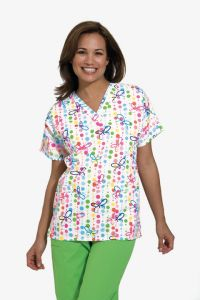 Scrub HQ 4700 Butterfly Dots Print V-Neck Top