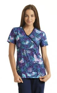 Cherokee Flexibles 2915C Midnight Flight Print Mock Wrap Top