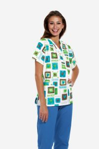 Scrub HQ 4700 Victorian Hearts Print V-Neck Top