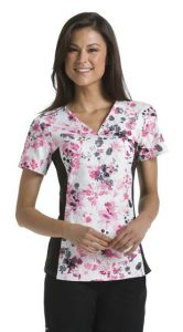 Cherokee Flexibles 2875C Yorkshire Garden Print V-Neck Top