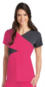Grey's Anatomy™ Signature 2140 Color Block Mock Wrap Top *CLEARANCE*