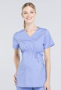 Cherokee Workwear Professionals WW685 Maternity Mock Wrap Top